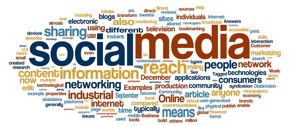 Social media and other words as tag cloud