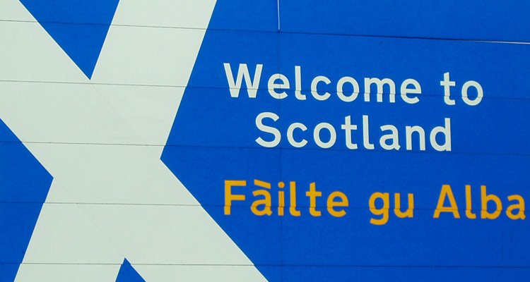 """""""Welcome to Scotland"""" road sign"""